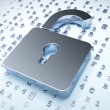 Privacy concept: Silver Opened Padlock on digital background — Stock Photo #31895347