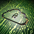 Cloud networking concept: Cloud With Padlock on circuit board ba — Stock Photo