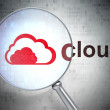 Cloud technology concept: Cloud and Cloud with optical glass — Foto de Stock