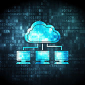Cloud computing concept: Cloud Network on digital background — Stok fotoğraf