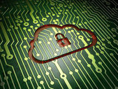 Cloud computing concept: Cloud With Padlock on circuit board bac — Stock Photo