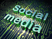 Social network concept: Social Media on circuit board background — Foto Stock
