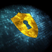 Safety concept: Shield With Keyhole on digital background — Stock Photo