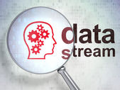 Information concept: Head With Gears and Data Stream with optica — Stock Photo