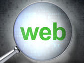 SEO web design concept: Web with optical glass — ストック写真