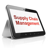 Concept publicitaire : Supply Chain Management sur tablet pc comput — Photo