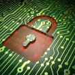 Privacy concept: circuit board with Closed Padlock icon — Stock Photo