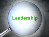 Business concept: optical glass with words Leadership — Stock Photo