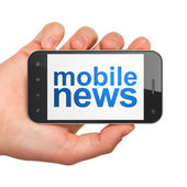 News concept: smartphone with Mobile News — Stok fotoğraf
