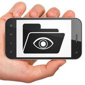 Concept commercial : smartphone avec dossier. — Photo