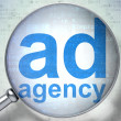 Stock Photo: Advertising concept: Ad Agency with optical glass