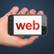SEO web design concept: Web on smartphone — Foto de Stock
