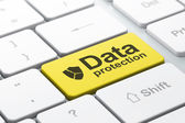 Protection concept: Broken Shield and Data Protection on compute — Stock Photo