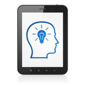 Data concept: Head With Lightbulb on tablet pc computer — Stock Photo