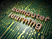 Education concept: Computer Learning on circuit board background — Stock fotografie