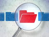 Finance concept: Folder with optical glass on digital background — Foto de Stock