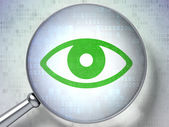 Protection concept: Eye with optical glass on digital backgroun — Stock Photo