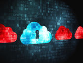 Cloud networking concept: Cloud With Keyhole on digital backgrou — Stock Photo