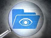Concetto di affari: cartella con occhio con vetro ottico sul digitale — Foto Stock