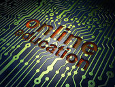 Education concept: Online Education on circuit board background — Stock fotografie
