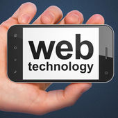 SEO web development concept: smartphone with Web Technology — Stock fotografie