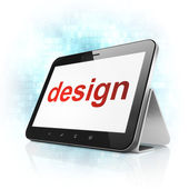 Marketing concept: Design on tablet pc computer — Stock Photo