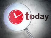 Time concept: Clock and Today with optical glass — Stok fotoğraf