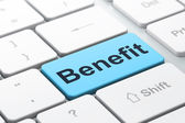 Business concept: Benefit on computer keyboard background — Foto de Stock