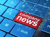 Concept de nouvelles : nouvelles de la société sur fond de clavier d'ordinateur — Photo