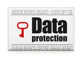 Safety news concept: newspaper with Data Protection and Key — Stock Photo