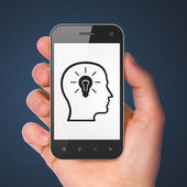 Information concept: Head Whis Lightbulb on smartphone — Foto de Stock