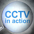 Privacy concept: CCTV In action with optical glass — Stock Photo
