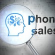 Advertising concept: Head With Finance Symbol and Phone Sales wi — Stock Photo #32596453