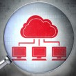 Stock Photo: Cloud technology concept: Cloud Network with optical glass on d