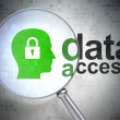 Data concept: Head With Padlock and Data Access with optical gla — Stock Photo