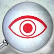 Stock Photo: Protection concept: Eye with optical glass on digital backgroun