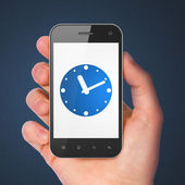 Timeline concept: Clock on smartphone — ストック写真