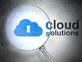 Cloud networking concept: Cloud With Keyhole and Cloud Solutions — 图库照片