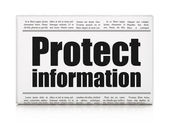 Security news concept: newspaper headline Protect Information — Photo