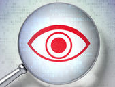 Protection concept: Eye with optical glass on digital backgroun — Foto de Stock