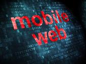 Seo web design conceito: Mobile Web sobre fundo digital — Fotografia Stock