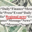 News concept: Regional News on Money background — Foto Stock #32600645
