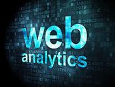 Conceito de desenvolvimento seo web: Web Analytics em fundo digital — Fotografia Stock