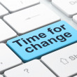 Timeline concept: Time for Change on computer keyboard backgroun — Stockfoto
