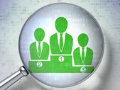 Business concept: Business Team with optical glass on digital b — Foto de Stock