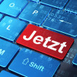 Timeline concept: Jetzt(german) on computer keyboard background — ストック写真