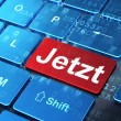 Timeline concept: Jetzt(german) on computer keyboard background — Stockfoto