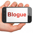 Web design concept: Blogue(french) on smartphone — Stock Photo