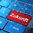 Timeline concept: Zukunft(german) on computer keyboard backgroun — Стоковая фотография