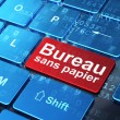 Finance concept: Bureau Sans papier(french) on computer keyboard — Stock Photo #32659535